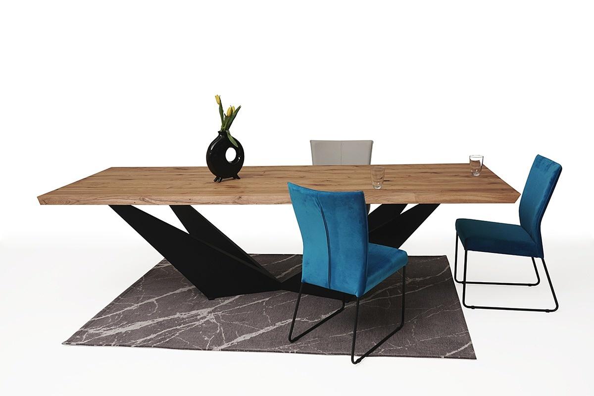 Stół z drewnianym blatem z nowoczesną czarną nogą 2