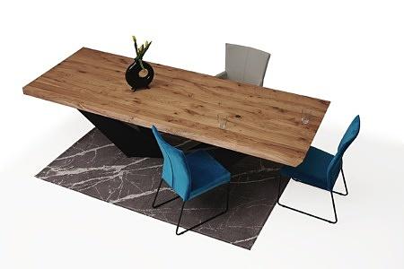 Stół z drewnianym blatem z nowoczesną czarną nogą 3