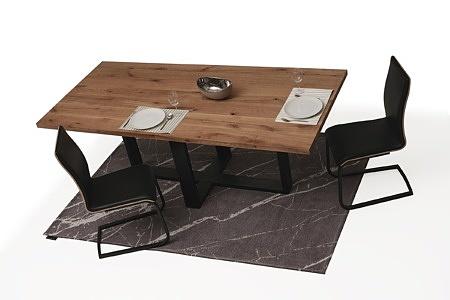 Stół z metalowymi nogami z blatem z drewna03