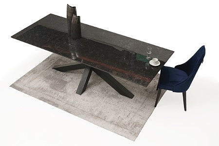 Stół ze spieku na dużej metalowej nodze 5