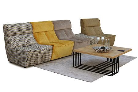 Viva - nowoczesna sofa modułowa skomponowana z trzech foteli, każdy w innym kolorze, tkanina jodełka (beżowy, szary, czarny, żółty), tkanina jednolita - żółta, pomarańczowa, beżowa, brązowa, beżowo-żółta