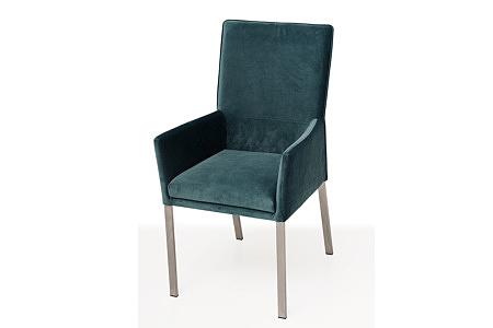 Tapicerowane krzesło z metalowymi nogami z podłokietnikami