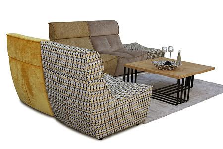 Viva - narożnik modułowy, tapicerowany w orginalnej tkaninie, możliwość postawienia na środku pokoju