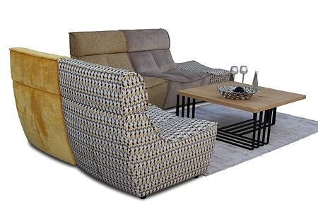 Viva - sofa modułowa tapicerowana w orginalnej tkaninie, możliwość postawienia na środku pokoju, tapicerowanie i wykończenie z każdej strony