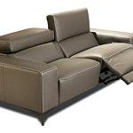 Sofa ze skóry 2-osobowa, brązowa skóra naturalna, grube boki, modułowe siedziska z funkcją relax elektryczny, regulowane zagłówki