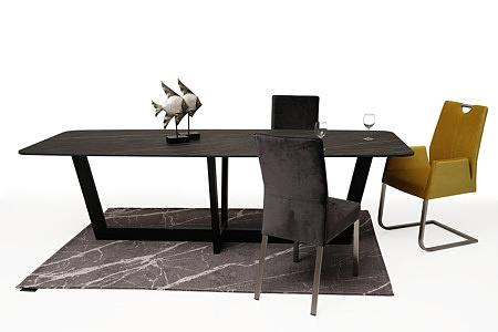wygodne krzesło tapicerowane na metalowych płozach z podłokietnikami