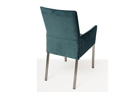 Wygodne tapicerowane krzesło z metalowymi nogami z podłokietnikami