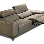 Designerska kanapa ze skóry naturalnej w kolorze brązowym, z funkcją relax elektryczny i regulowanymi zagłówkami