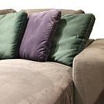 Flavio - kolorówe poduszki na oparciu brązowego narożnika do salonu tapicerowanego tkaniną, poduszki fioletowe, zielone, kolor butelkowa zieleń 111