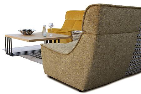 Viva - wypoczynek tapicerowany, modułowy, widok z boku i od tyłu, tkanina beżowo-żółta