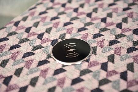 Barek nowoczesny zestaw wypoczynkowy ładowanie indukcyjne tapicerowany materiał m3