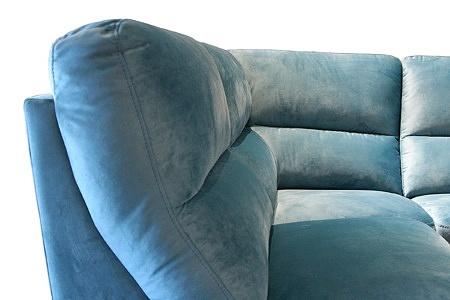 Livio - elegancki wygodny turkusowy narożnik z miękkim oparciem, siedziskami wykonanymi z wysokosprężystej i elastycznej pianki
