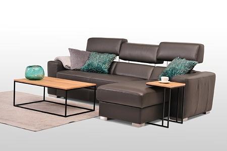 Kompaktowy narożnik skórzany brązowy lub z tkaniny do nowoczesnego pokoju dziennego i salonu