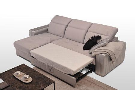 Komplet drift ze spaniem wygodnym oraz pojemnikiem kolor szary nowoczesny salon