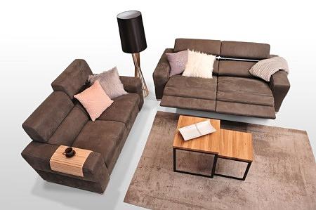 Sofy z funkcją relax - nowoczesne - TC Meble Dobrodzień - Zestaw wypoczynkowy 2+2, kolor brązowy