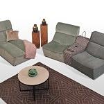 Narożnik z oddzielnymi siedziskami modułowiec z włoskiej naturalnej skóry lub tkaniny wytrzymałej