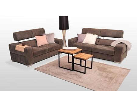 Sofy z funkcją relaks, nowoczesne, kolor tkaniny brązowy, tapicerowany z każdej strony, do postawienia na środku salonu