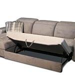 Drift - nowoczesny narożnik do salonu z możliwością spania typu delfin, tapicerowany w kolorze białe złoto, idealny do salonu urządzonego w stylu glamour