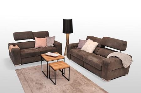 Nowoczesne sofy z funkcją relaks, podnoszone zagłówki, brązowa tkanina welurowa, grube boki