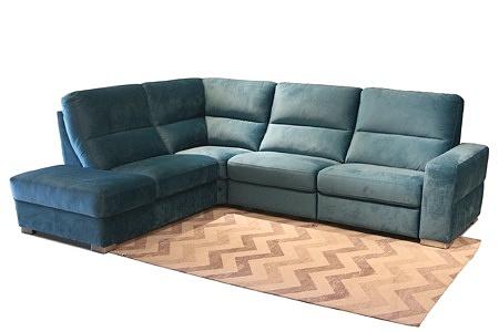 Livio - nowoczesna wygodna kanapa, narożnik do salonu, tapicerowana, odcienie turkusu, z metalowymi nogami i miękkimi oparciami w formie dużych poduszek zamocowanych na stałe