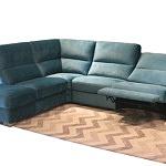 Livio - nowoczesny wypoczynek do salonu w kolorze turkusowym, tkanina plamoodporna w odcieniach turkusu, funkcja relax elektryczny, miękkie wygodne oparcia