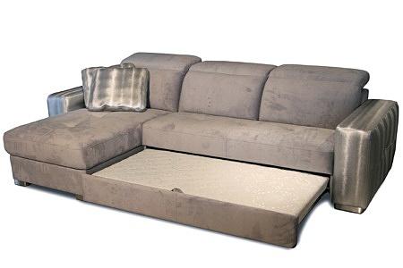 Drift - narożnik do salonu z możliwością spania, narożnik w stylu glamour tapicerowany tkaniną w kolorze białe złoto, pikowane wygodne siedziska