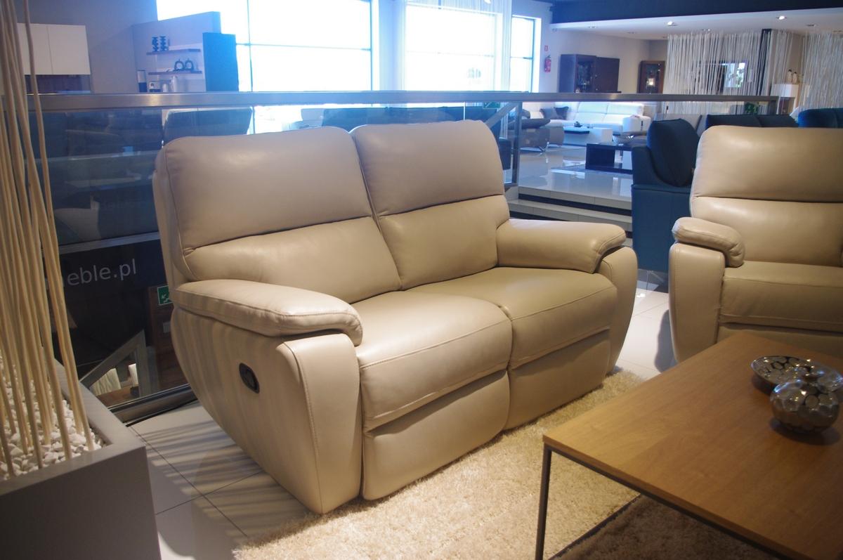 sofa 2-os z dwoma relaxami skóra