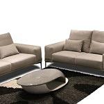 Rimini - dwie sofy typu poduszkowiec, aranżacja, inspiracja salonu, sofy tapicerowane tkaniną plamoodporną w kolorze brązowym