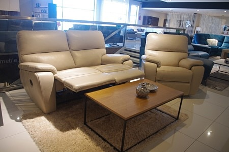 sofa z relaxami do salony skóra beżowa