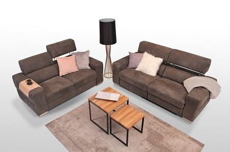 Sofy do salonu - tapicerowane tkaniną w kolorze brązowym, grube boczki, regulacja wysokości zagłówków