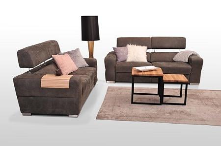 Sofy z funkcją relaksu - zestaw wypoczynkowy 2+2, sofy tapicerowane brązowe, funkcja relaksu elektrycznego, zagłówki regulowane na wysokość