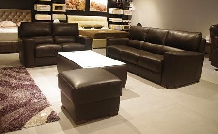 wygodna sofa ze skóry naturalnej brązowa