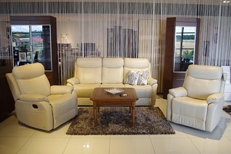 Fresco - Elegancki biały komplet wypoczynkowy skórzany z relaksem sofa biała + 2 fotele