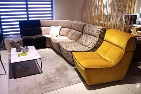 Wypoczynek modułowy, fotel skrajny żółty