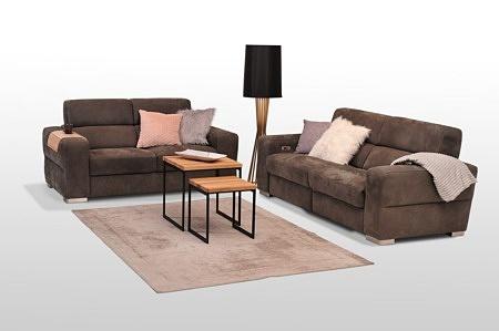Giano - meble premium - zestaw 2+2, wygodne sofy tapicerowane tkaniną w kolorze brązowym