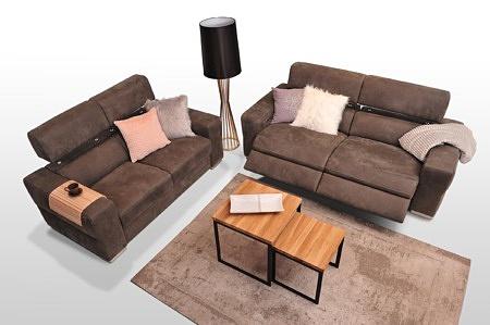 Zestaw wypoczynkowy w nowoczesnym stylu 2+2, sofy tapicerowane welurem, kolor brązowy, podnoszone zagłówki, grube boki, funkcja relaks