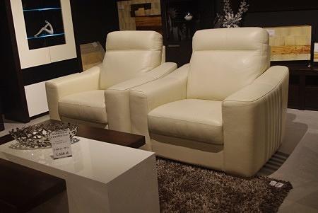 Fotele ze skóry beżowej