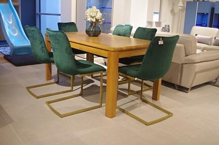 Krzesła zielone nogi złote