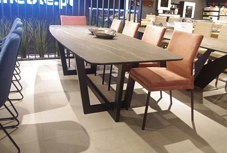 Stół largo nogi metalowe blat spiek kwarcowy