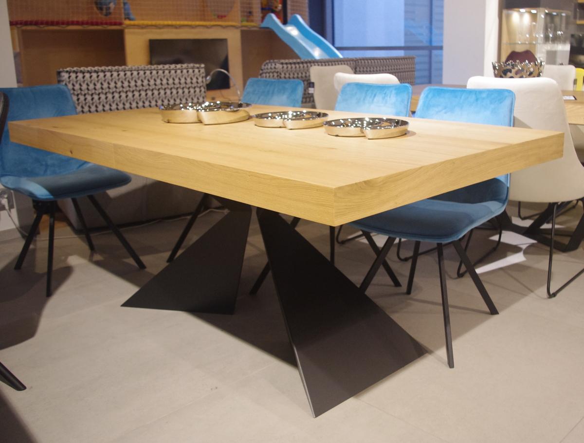 Stół rozkładany dębowy czarna noga metalowa