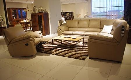 Komplet wypoczynkowy - fotel rozkładany z relaxem, narożnik skórzany beżowy, skóra naturalna