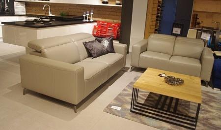Sofa z relaxem do salonu skóra naturalna gruba szara