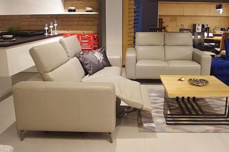 Sofa z relaxem elektrycznym skóra szara