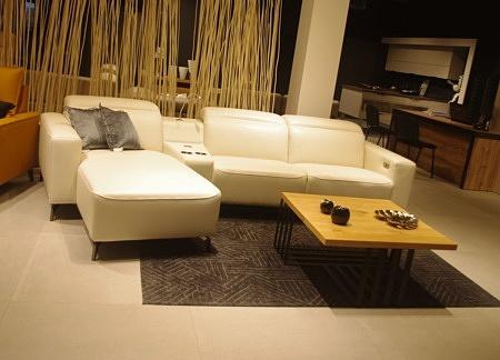 Narożnik bellagio z funkcją relaxu do salonu nowoczesny loftowy