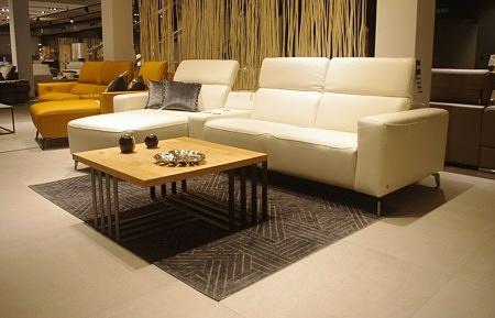 Narożnik z relaxem biały nowoczesny do salonu loft
