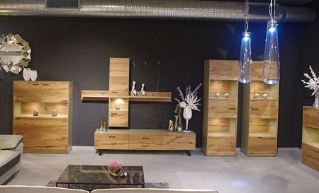 Piękne meble do salonu w nowoczesnym stylu lakierowane dąb