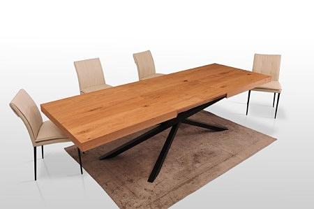 Stół rozkładany prosty blat drewniany naturalna okleina dębowa