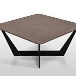 B18 stolik kawowy ze spiekiem kwarcowym matowy pietra grey promień r50 na szkle nowoczesny design