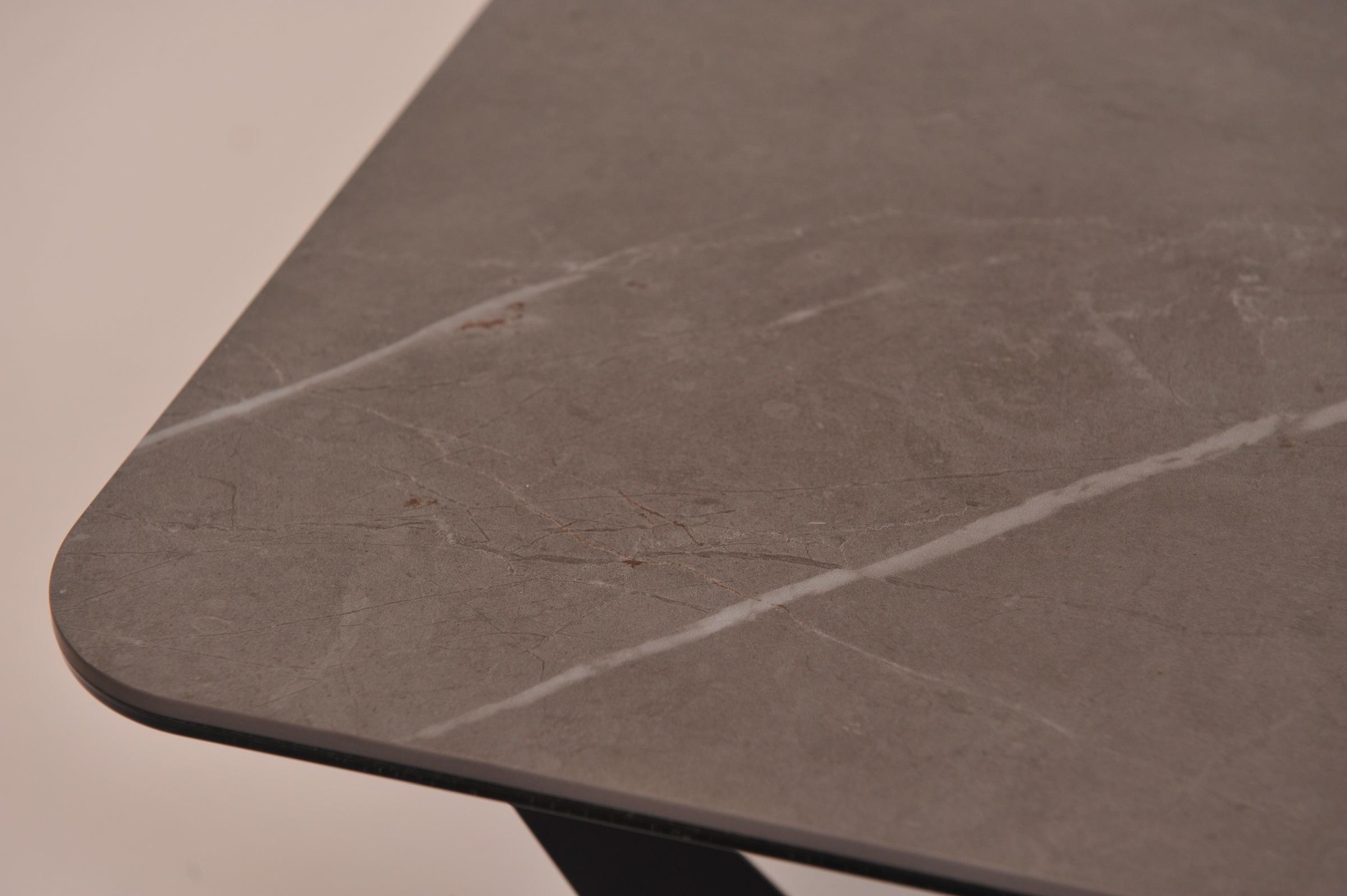 Blat ławy zaokrąglony promień spiek laminam matowy mat szary beton białe pręgi styl loftowy