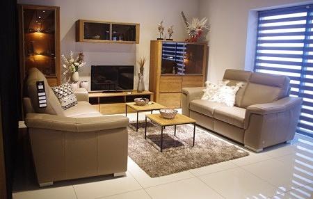 Bolero - zestaw wypoczynkowy, dwie eleganckie beżowe sofy skórzane do salonu